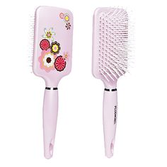 The Plugged In Spring Flowers Paddle Brush features a fun flower design.