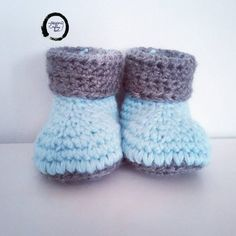 Crochet baby booties, crochet baby shoes, grey & baby blue baby booties, baby boys booties, baby shower, reveal Baby Boy Booties, Baby Boy Shoes, Sweater Knitting Patterns, Baby Knitting, Baby Boys, Handmade Baby Gifts, Handmade Crafts, Christmas Gifts For Boys, Crochet Baby Booties