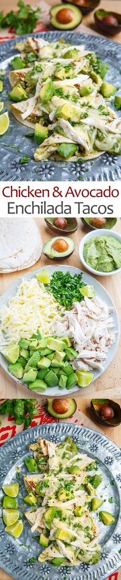 Chicken and Avocado Enchilada Tacos. These are just like El Taco. Use smoked chicken that Rob makes and small corn tortillas. The filling made ten tacos for me not 8