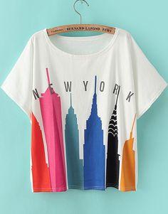 White Short Sleeve City Print Loose T-Shirt 13.00