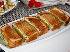 """Fried Egg, Avocado and Brie Panini with Jalapeño Chimichurri (Awards Show Party) - Tia Mowry, """"Tia Mowry at Home"""" on the Cooking Channel. Chimichurri, Food Network Recipes, Food Processor Recipes, Tapas, Cooking Channel Shows, A Food, Good Food, Breakfast For Dinner, Wrap Sandwiches"""