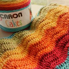 Rainbow ripple made with caron cakes yarn. Perfect rainbow baby blanket. Available on Etsy!!