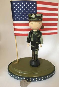 Items similar to Soldier Patriotic Peg Doll on Etsy Wooden Pegs, Wooden Dolls, Doll Crafts, Cute Crafts, Clothes Pin Ornaments, Army Crafts, Homemade Dolls, Fourth Of July Decor, Clothespin Dolls