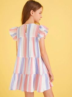 Girls Keyhole Back Striped Babydoll Dress – gagokid Cute Girl Outfits, Little Girl Dresses, Girls Dresses, Summer Dresses, Tee Dress, Babydoll Dress, Cute Young Girl, Types Of Sleeves, Kids Fashion