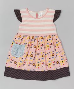 Look at this Coral Stripe Floral Dress - Infant, Toddler, Girls on #zulily today!