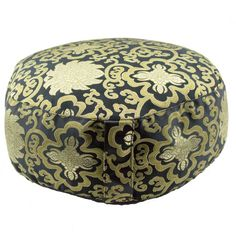 Black Meditation Cushion Zafu with Gold Lotus Brocade Design (Round)