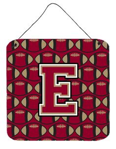Letter E Football Garnet and Gold Wall or Door Hanging Prints CJ1078-EDS66