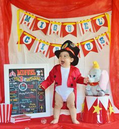 Baby's First Birthday Pictures, Circus Party Dumbo Birthday Party, Circus First Birthday, Circus 1st Birthdays, 1st Birthday Themes, Birthday Ideas, Circus Carnival Party, Circus Theme Party, Carnival Birthday Parties, First Birthday Parties