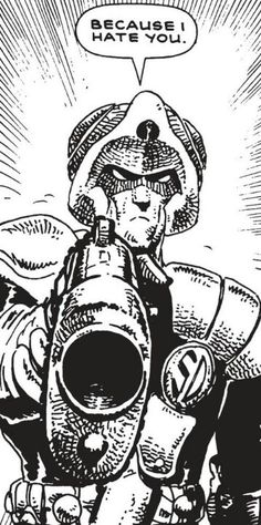 """The famous death of Max Bubba at the hands of Johnny Alpha from Strontium Dog: """"Rage"""" - art by Carlos Ezquerra. One of the most iconic moments in British comics. Comic Book Characters, Comic Character, Comic Books Art, Character Design, Rage Art, Abc Warriors, 2000ad Comic, Comic Style Art, Warhammer 40k Art"""