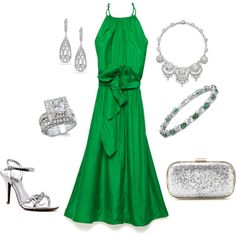 green sparkle, created by mcrae on Polyvore