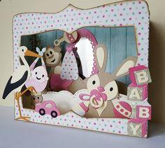 Carte box thème bébé fille : Cartes par linettes2703