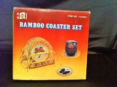 6 Bamboo Coasters Butterfly w/ Caddy Tiki Bar Wicker ~ Vtg HIMARK Original Box #HiMark