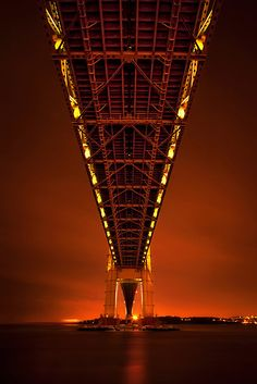 Verrazano Bridge, New York  Run Through The Night by Evelina Kremsdorf  http://www.redbubble.com/people/hybcemoe/works/8168573-run-through-the-night