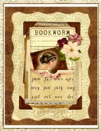 Vintage Bookworm Collage for Journals, Cards, Crafts