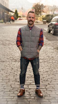 Portland Street Style. Men's Puffer vest. Men's Plaid Shirt.  http://www.carlytati.com