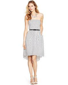 $160, White Polka Dot Midi Dress: Strapless Polka Dot Fit And Flare Dress by White House Black Market. Sold by White House Black Market. Click for more info: http://lookastic.com/women/shop_items/240083/redirect