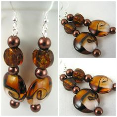 Brown Lampwork with Copper Earrings