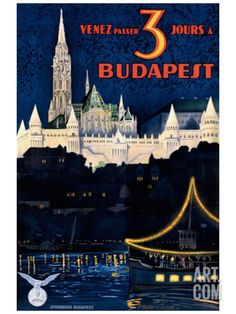 giclée print - vintage travel poster in French - come and stay 3 days in Budapest - the Danube and Matyas church in the background Vintage Travel Posters, Vintage Ads, Poster Vintage, Poster Ads, Poster Prints, Art Prints, Budapest Travel, Travel Ads, Budapest Hungary