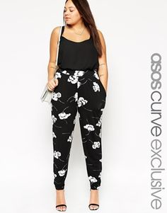 Enlarge ASOS CURVE Peg Pant In Mono Floral Print #love