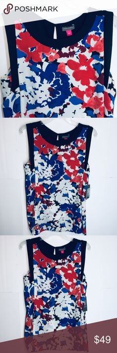 c757934fe1797 NWT VINCE CAMUTO WOMEN s TOP. SIZE S Multi color floral print. Brand new by