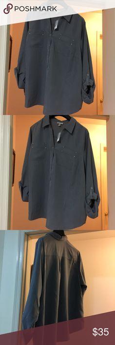Dressbarn botton down Rozandai blouse size 3x Dressbarn botton down Rozandai  Blue blouse size 3x 100 % polyester new with tag.original price$48.00 now $35.00 Dress Barn Tops Tunics
