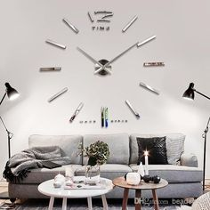 Funlife Diy 90x90cm 35x35in Large Mental Size Home Decor Sticker Wall Clock For Living Room Decal Decoration Mantle Clocks From