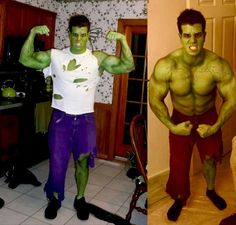 This is a guide about making an Incredible Hulk costume. The Incredible Hulk is one of the most famous characters in comic book history and makes a great Halloween Costume. Hulk Halloween Costume, Superhero Halloween, Family Halloween Costumes, Adult Halloween, Halloween Ideas, Halloween Party, Halloween Stuff, Halloween Makeup, Homemade Halloween