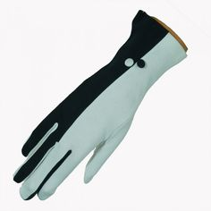 Two tone glove with buttons - Black / White - Cornelia James
