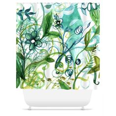 Ebb   Flower Blue and Turquoise Watercolor Shower Curtain