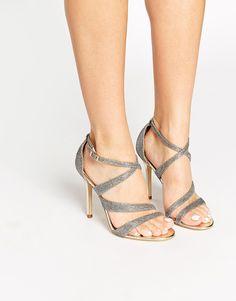 £110 Karen Millen Gold Glitter Heeled Sandals