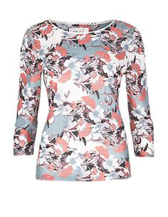 3/4 Sleeve Oriental Floral Top | M&S £25