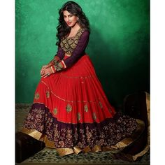Chitrangada Singh Red and Magenta Georgette #Anarkali- $95.83