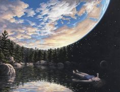 Mind-Blowing Optical Illusion Paintings From Rob Gonsalves... You'll need to take your time with these trippy paintings!