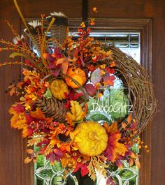 Grapevine FALL or THANKSGIVING Wreath with Fall by decoglitz