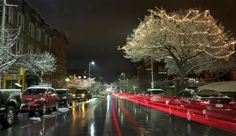 Ice covered trees and a car's light trails were captured near the Poughkeepsie waterfront.