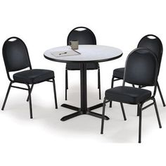 """KFI Seating Round Cafeteria Table and Chair Set Size: 42"""" W x 42"""" D, Seat Color: Black, Tabletop Color: Graphite Nebula"""