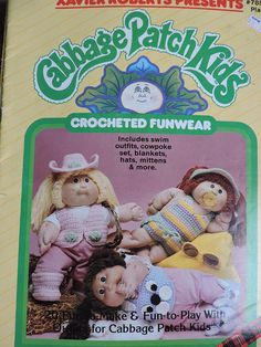 Items similar to Cabbage Patch Kids Crocheted Funwear Dolls Wardrobe Xavier Roberts Doll Vintage 1985 SC Dolls Book Needlework Doll Clothes Pattern # 7858 on Etsy Plaid Crochet, Vintage Crochet, Doll Patterns, Crochet Patterns, Craft Patterns, Vintage Patterns, Kids Purse, Doll Carrier, Bunny Slippers