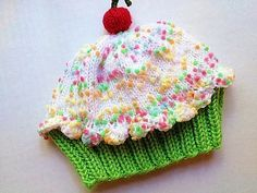 Handmade hand knit Cupcake Hat with Cherry on Top by StellasKnits, $18.00