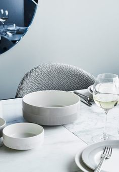 """New dinnerware from the Danish brand Rosendahl, and is called """"Duet"""". """"Duet"""" is a form of love letter to the modern table setting, where everything from relief pattern to glossy and matte porcelain is combined to create interaction."""