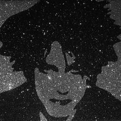 Robert Smith of The Cure Retro Goth Glitter Art
