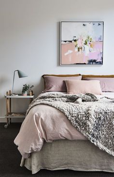 pink bedding and beautiful girly bedroom - home decor goals