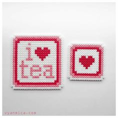 I love Tea coasters hama perler beads