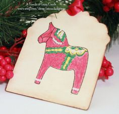 Christmas Tags Doubled Layered Swedish Dala Horse by atouchofgray
