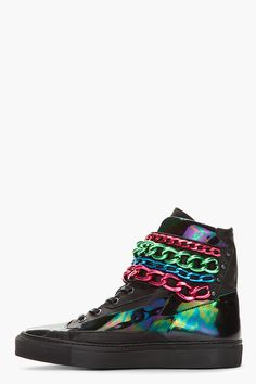 RAF SIMONS //  BLACK HOLOGRAPHIC TRICOLOR CHAINED VELCRO SNEAKERS.