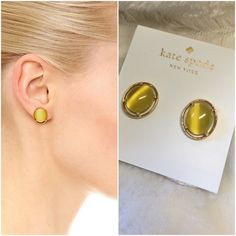 Kate spade stud earrings Brand new gorgeous gold plated open rim stud earrings, yellow stone.  Jewelry pouch included, perfect for a gift. NO TRADES kate spade Jewelry Earrings