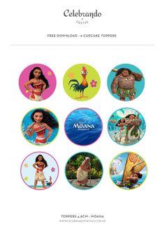 Toppers para cupcakes Moana gratis! #freeprintables #moana #cupcakes - Celebrando Fiestas