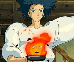 Studio Ghibli, Howl's Moving Castle CAlcifer and howl Art Studio Ghibli, Studio Ghibli Movies, Hayao Miyazaki, Personajes Studio Ghibli, Anime Manga, Anime Art, Mega Anime, Le Vent Se Leve, Kawaii