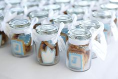 Little prince boy baptism favors. Mini cookies in a cute jar with a ribbon. for A's baptism Baby Boy Christening, Christening Favors, Baptism Favors, Baptism Party, Baby Party, Baptism Ideas, Christening Giveaways Souvenirs, Communion Favors, Christening Invitations