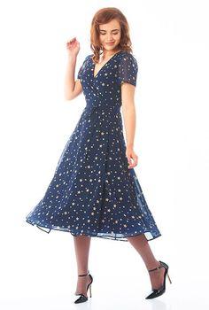 I <3 this Star print georgette midi wrap dress from eShakti