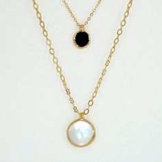 Strass collier, marcottage or collier, collier de perles, collier délicat d'Onyx, Double collier, noir & blanc bijoux.